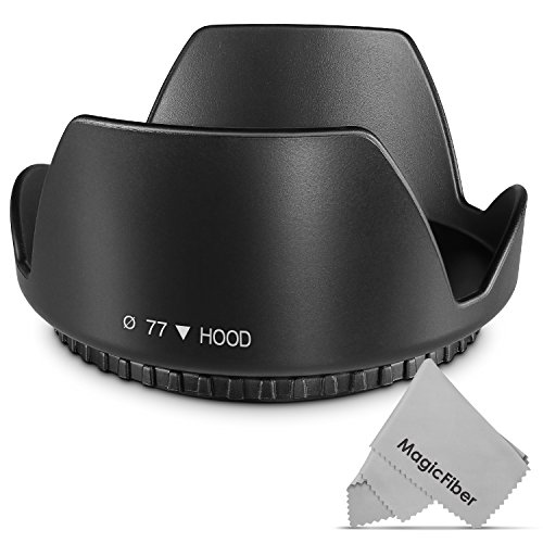 77MM Altura Photo Tulip Flower Lens Hood for CANON 24-105MM, 10-22MM, 17-40MM, 28-300MM, 70-200MM and NIKON 10-24MM, 28-300MM, 18-300MM DSLR Zoom Lenses + MagicFiber (Canon 77mm Lens Hood compare prices)
