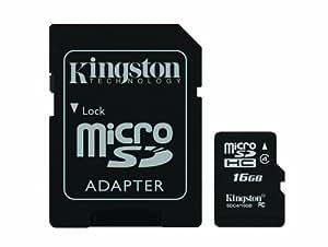 Kingston Digital 16 GB Class 4 microSDHC Flash Card with SD Adapter (SDC4/16GBET)