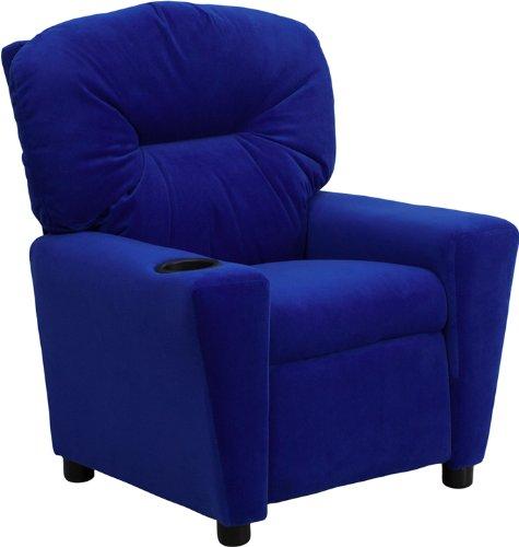Contemporary Blue Microfiber Kids Recliner with Cup Holder [BT-7950-KID-MIC-BLUE BT-7950-KID-MIC-BLUE-GG