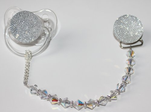 Clear Swarovky Crystal ONLY Pacifier clip (CSGC)