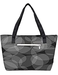 Pack Of 2 Grey Circles Abstract Pattern Combo Tote Shopping Grocery Bag With Coin Pencil Purse