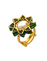 Voylla Simple Golden Ring With Silver And Green Stones