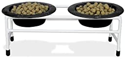 Platinum Pets White Triple Modern Diner Stand with 1 Cup Stainless Steel Pet Bowls in Midnight Black