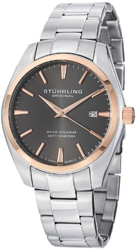 Stuhrling Original Men's 414.334154 Classic Ascot Prime Stainless Steel Bracelet Watch with Rose-Tone Bezel