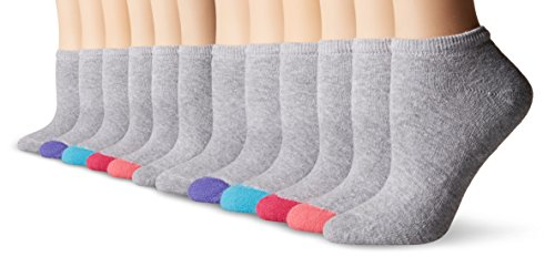 Fruit of the Loom Women's 12 Pack Premium Soft Spun No Show Socks,  Grey/Multi Heel/Toe, Shoe: 4-10 (Fruit Of The Loom No Show compare prices)
