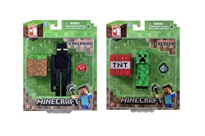 Set Of 2 Overworld Minecraft Mini Fully Articulated Action Figure Pack - Enderman Creeper from Minecraft