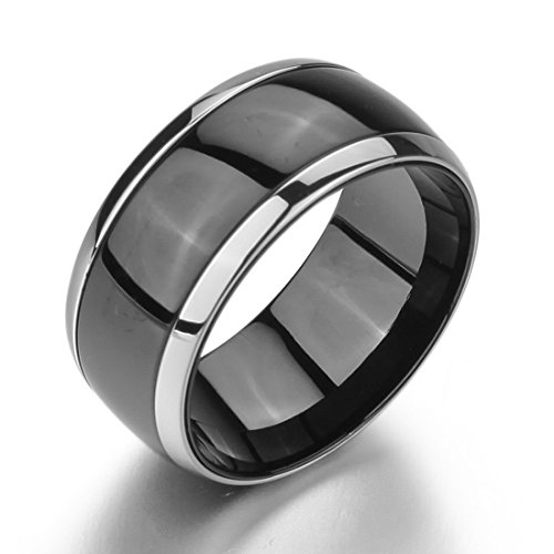 Men'S Wide 10Mm Stainless Steel Rings Band Silver Black Chain Wedding Polished Size10
