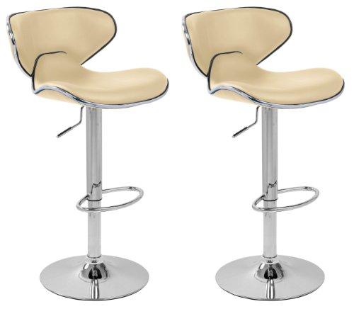 Lavin Lifestyle - Coppia di sgabelli da bar in ecopelle, ideali per la cucina, bianco panna