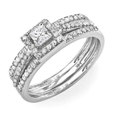 0.62 Carat (ctw) 14k White Gold Round & Princess Diamond Ladies Bridal Halo Ring Engagement Matching Band Set