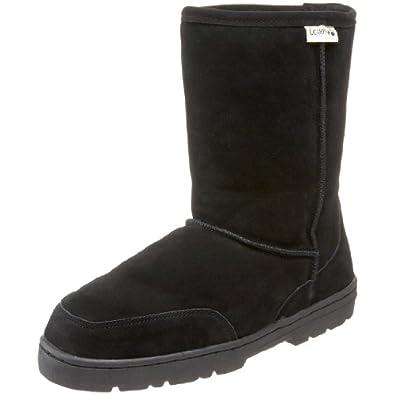 """BEARPAW Men's Dream 8"""" Shearling Boot,Black,14 M"""