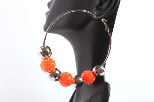 Neon Orange Shamballah 2.5 Inch Hoop Earrings with 3 Disco Balls and 4 Plated Balls Basketball Mob Wives Iced Out Lady Gaga Poparazzi