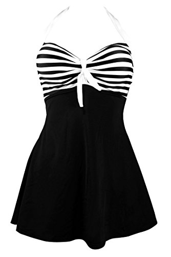 Cocoship Black & White Striped Vintage Sailor Pin Up Swimsuit One Piece Skirtini Cover Up Beachwear XXXL(FBA)