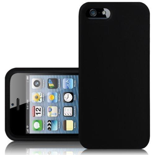 ein. SCHWARZ SCHLANK HART SILIKONHÜLLE FÜR DAS APPLE iPHONE 5 & 5 S MOBILTEIL