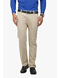 Wear Your Mind Beige Cotton Solid Chinos For Men 168.16