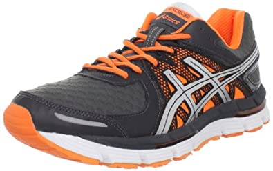 ASICS Men's GEL-Excel33 Running Shoe,Storm/Lightning/Neon Orange,8 M US