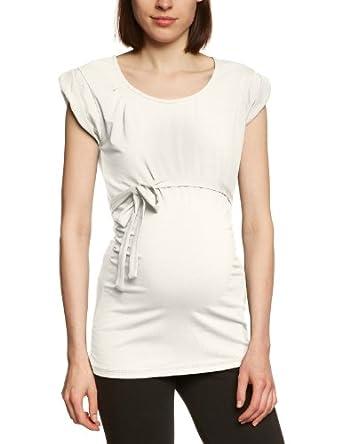 MAMALICIOUS Damen Umstandsmode Shirt/ Top 20001544/MIKKA SL JERSEY SOLID, Gr. 36 (S), Weiß (SNOW WHITE)