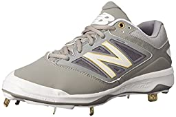 New Balance Men\'s L4040V3 Cleat Baseball Shoe, Grey/White, 11.5 D US