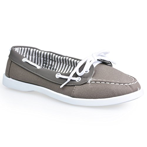 Twisted Women's BONNIE Contrast Stitched Canvas Athletic Boat Shoe - GREY, Size 9