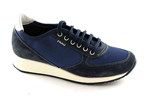 FRAU 43Y3 blu scarpe donna sneakers lacci camoscio raso 41