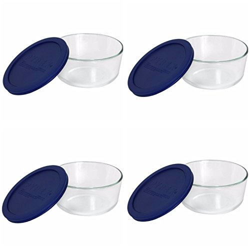 Pyrex Storage 4-Cup Round Dish with Dark Blue Plastic Cover, Clear (Case of 4 Containers) (Glass Container Round compare prices)