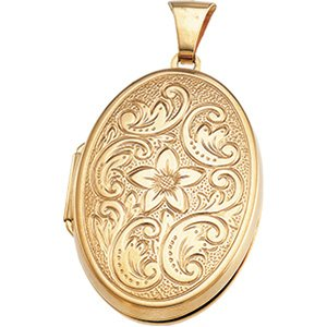 14K Yellow Gold 31.75X22.75 MM Oval Shaped Locket Ring Size 6