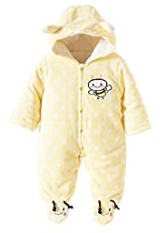Wantdo Baby\'s Toddler Velour Winter Autumn Cute Footed Jumpsuit Front Button Yellow 0-3 Months