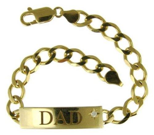 9ct Yellow Gold Gents' Cubic Zirconia Star Dad ID Plate Diamond Cut Curb Bracelet