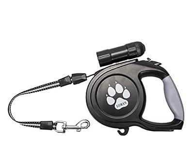 SOMAN ペット用 犬用伸縮リード 荷重60㎏まで 自動巻き 長さ8M 中・大型犬用 明るい9LED 懐中電灯付き(ブラック)