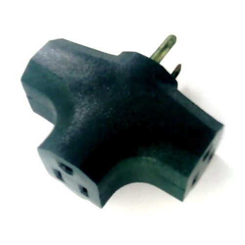 3 Way Outlet Wall Plug Adapter (T Shaped Wall Tap) 3 Prong, Green Color
