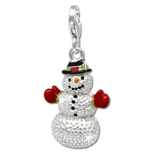 SilberDream Charm snowman red black and green enameled 925 Sterling Silver Pendant FC697