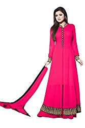 Momai Creation Women's Faux Georgette Pink Unstitched Dress Material (MCV-LT-01)