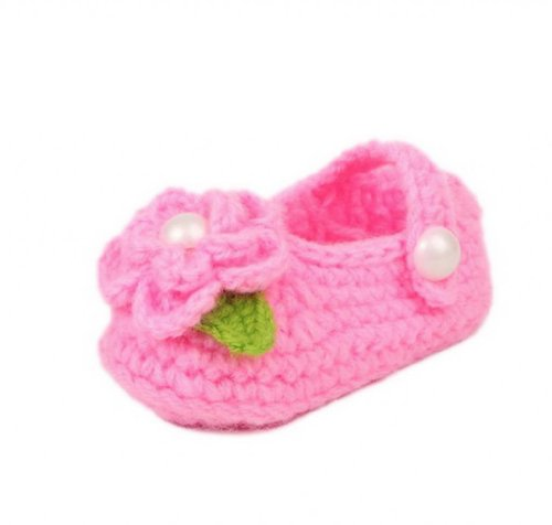 Orien Baby Infant Hand Knit Flower Socks Crib Shoes Booties Hot Pink Sole 11Cm front-580169