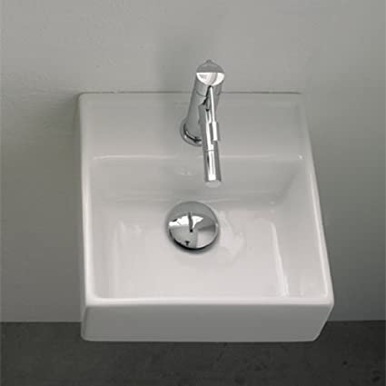 Scarabeo Scarabeo 8036-One Hole-637509852597 Square Wall Mounted Ceramic Sink, White