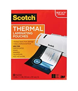 Scotch Thermal Laminating Pouches 8.9 x 11.4 Inches 3 mil, 50-Pack (TP3854-50)