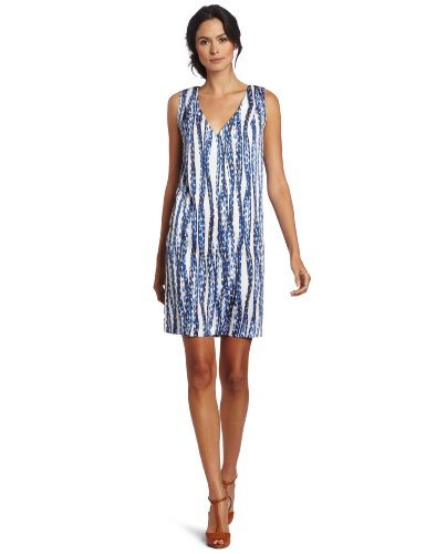 Anne Klein Women's Shift Dress, Blue/White, 8