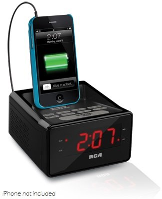 RCA Dual Alarm Clock Radio Charging Station for iPod, iPhone, iPad, Tablet, Smartphone, MP3 Player, CD player, Tape Cassette Players