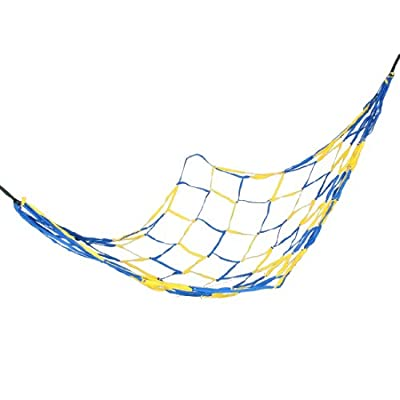 "75"" x 28"" Blue Yellow Nylon Mesh Net Outdoor Camping Sleeping Bed Hammock"