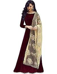 JULEE Women's Taffeta Silk & Net Dupatta Designer Anarkali Gown(Free Size)