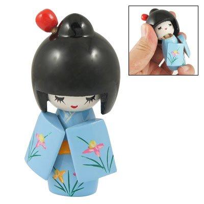 Carved Flower Kimono Japanese Kokeshi Doll Baby Blue front-1032986