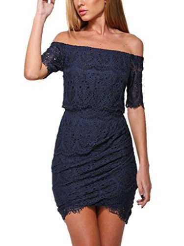 Happy Sailed Women's Summer Lace Tunic Off-shoulder Mini Dress, Large Navy