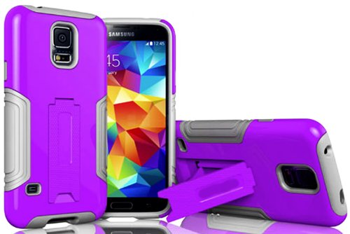 Mylife (Tm) Cool Gray And Mauve Purple - Neo Hybrid Series (Built In Kickstand) 2 Piece + 2 Layer Case For New Galaxy S5 (5G) Smartphone By Samsung (External Hard Fit Armor With Built In Kick Stand + Internal Soft Silicone Rubberized Flex Gel Bumper Guard