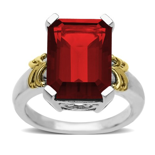 Sterling Silver and 14k Yellow Gold Emerald Cut Created Ruby Ring, Size 9