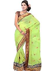 Exotic India Foliage-Green Wedding Sari With Metallic Thread Em - Green