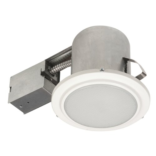 Globe Electric 90036 5 Inch Recessed Lighting Kit, Bathroom, White Finish With Frosted Glass, Flood Light