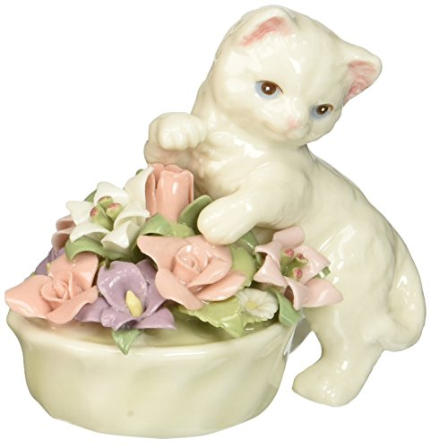 Cosmos 96475 Fine Porcelain Kitten with Flower Pot Figurine, 3-Inch