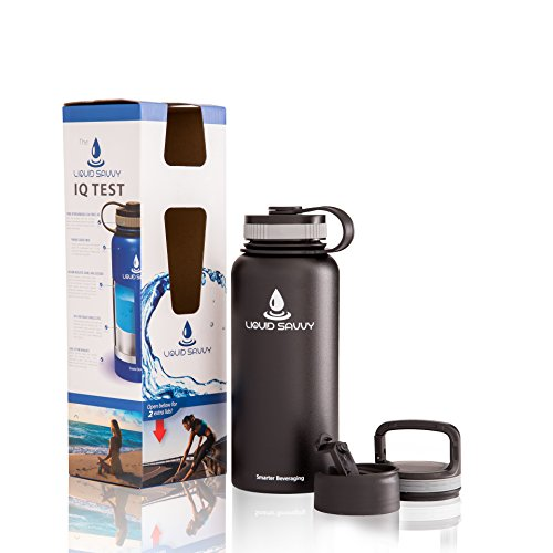 32 oz Insulated Water Bottle with 3 lids - Stainless Steel, Wide Mouth Double Walled Vacuum Bottle for Hot and Cold Beverages by Liquid Savvy. (Lukewarm Water compare prices)