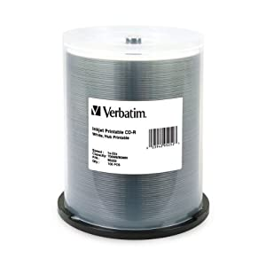 Verbatim 700 MB 52x 80 Minute White Inkjet and Hub Printable Recordable Disc CD-R, 100-Disc Spindle 95252 by Verbatim
