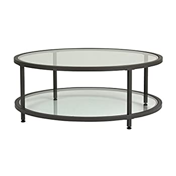Studio Designs Home 71003.0 Camber Round Coffee Table In Pewter With Clear Glass