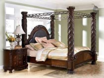 Hot Sale Ashley North Shore King Canopy Bed in Dark Wood