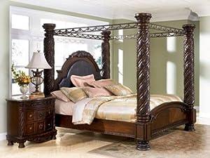 Amazon Com Ashley North Shore King Canopy Bed In Dark Wood Furniture Amp Decor